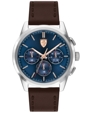 Men's Chronograph Grand Tour Brown Leather Strap Watch 44mm