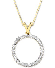 """Diamond Circle 18"""" Pendant Necklace (1/10 ct. t.w.) in Gold-Plated Sterling Silver, Rose Gold-Plated Sterling Silver or Sterling Silver"""