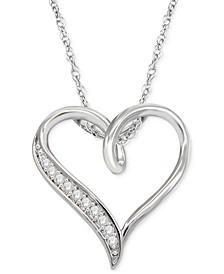 "Diamond Heart 18"" Pendant Necklace (1/10 ct. t.w.) in Sterling Silver"