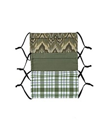 Adult 3-Pk Plaid and Stripe Print Face Mask Set