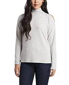 Women's Cold Shoulder Cozy Top with Embellishments