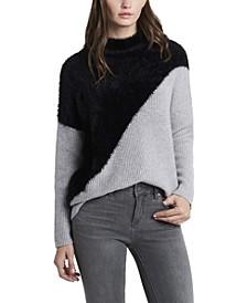 Women's Diagonal Color block Turtleneck Sweater