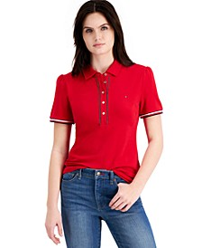 Cotton Puff-Sleeve Polo