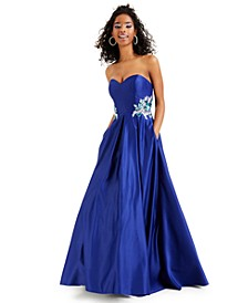 Juniors' Strapless Embellished Gown, Created for Macy's