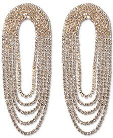 Gold-Tone Rhinestone Chain Loop Statement Earrings, Created for Macy's