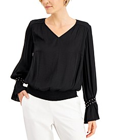 Petite Embellished-Cuff Blouse, Created for Macy's