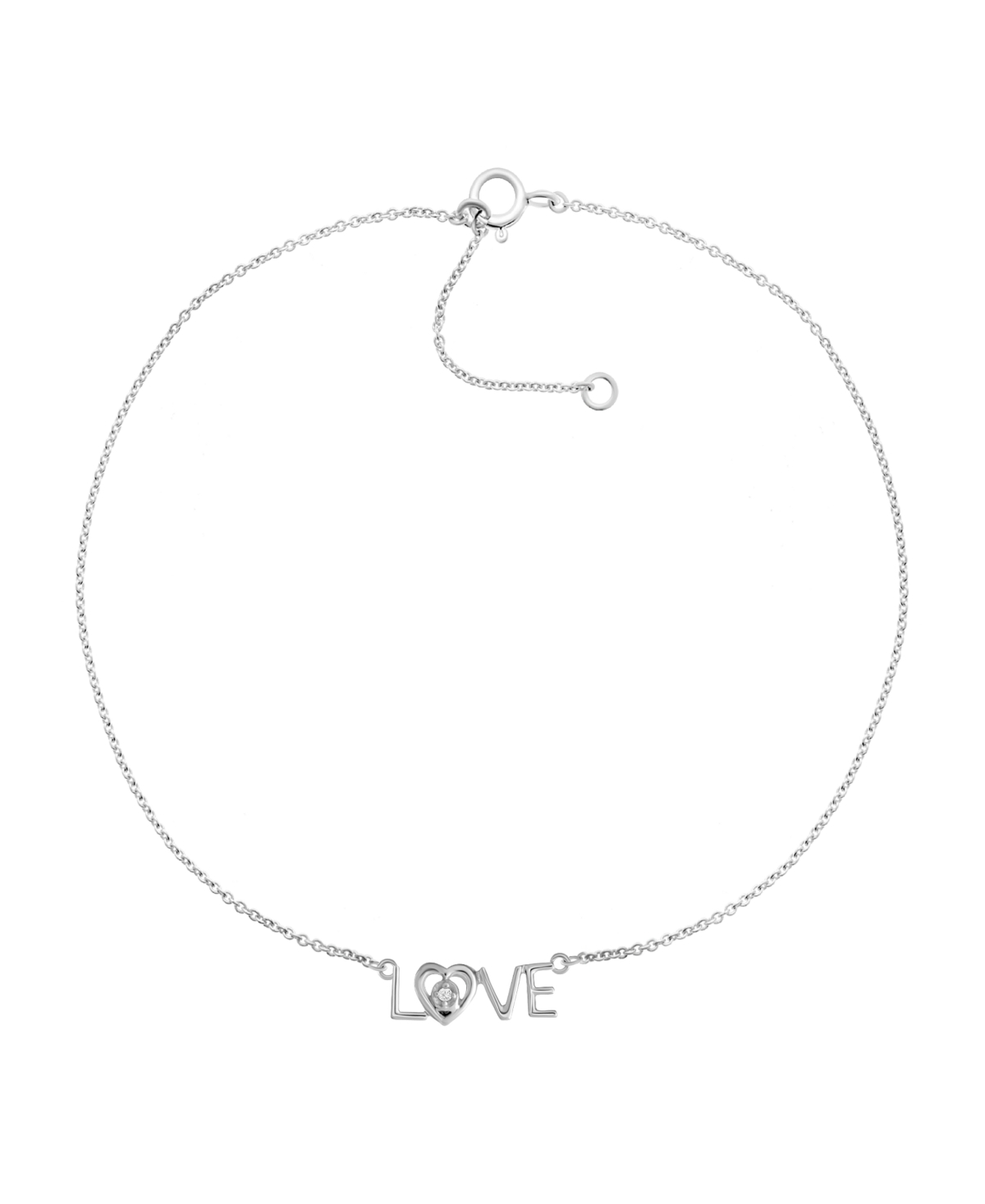 """Diamond Accent Love Anklet in Sterling Silver, 9"""" + 1"""" extender"""