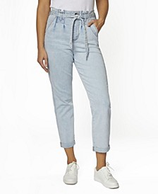 Juniors' Hi Rise Self Belt Pleated Cuffed Ankle Jeans