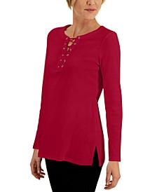 Lace-Up Vented-Hem Top, Created for Macy's
