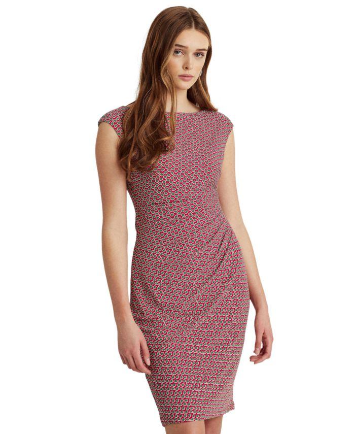 Lauren Ralph Lauren Petite Print Ruched Boatneck Dress & Reviews - Dresses - Petites - Macy's