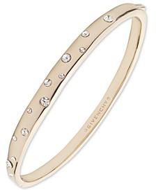 Gold-Tone Crystal Hammered Bangle Bracelet