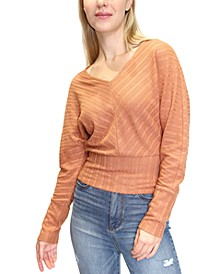 Juniors' Pointelle-Knit Dolman-Sleeve Criss-Cross Back Top