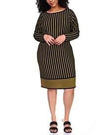 Plus Size Striped Chain-Print Border Shift Dress