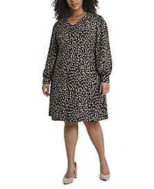 Women's Plus Size Long Sleeve Animal Reset Print V-Neck Dress