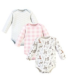 Boys and Girls Quilted Long Sleeve Cotton Bodysuits, Pack of 3