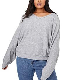 Women's Trendy Plus Size Preppy Cable Pullover