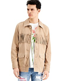 INC ONYX Men's Fringed Suede Jacket, Created for Macy's