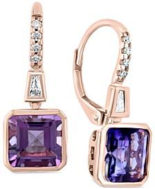EFFY® Amethyst (3 ct. t.w.) & Diamond (1/8 ct. t.w.) Drop Earrings in 14k Rose Gold