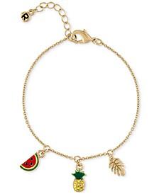 Gold-Tone Pavé Pineapple Charm Bracelet