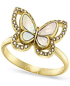 Gold-Plate Pavé & Mother-of-Pearl Butterfly Ring, Created for Macy's