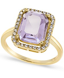 Gold-Plate Pavé & Rectangle-Crystal Halo Ring, Created for Macy's