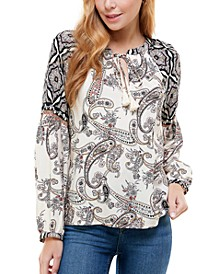 Juniors' Paisley-Print Split-Neck Top
