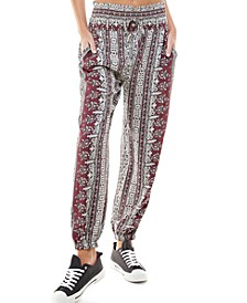 Juniors' Printed Smocked Jogger Pants