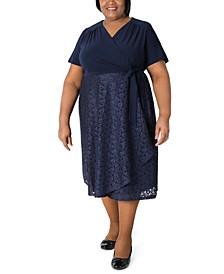 Plus Size Surplice-Top Lace-Skirt Dress