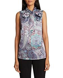 Paisley-Print Tie-Neck Top