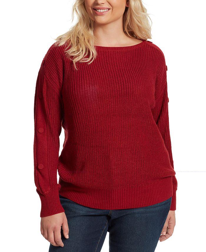 Jessica Simpson - Juniors' Adley Plus-Size Button-Trimmed Sweater