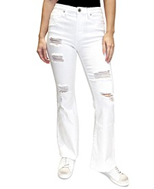 Juniors' Distressed High-Rise Flared Jeans