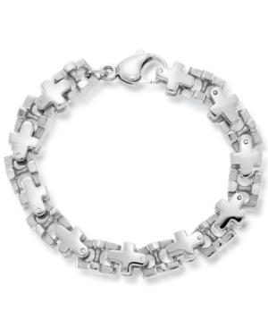 Men's Cross Link Bracelet in Stainless Steel