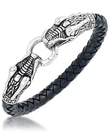 Men's Dragon Head Leather Bracelet in Stainless Steel