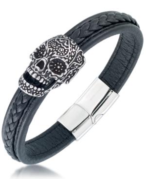 Men's Ornamental Skull Leather Bracelet in Stainless Steel
