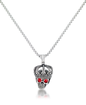 """Men's Red Cubic Zirconia King Skull 24"""" Pendant Necklace in Stainless Steel"""