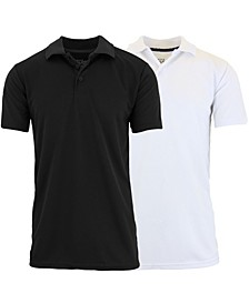 Men's Tag less Dry-Fit Moisture-Wicking Polo Shirt, Pack of 2