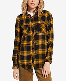 Juniors' Getting Rad Plaid Cotton Button-Up Shirt