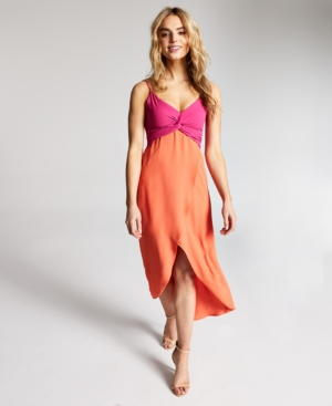 Twist-Front Colorblocked Midi Dress