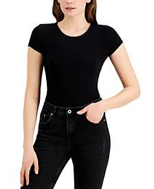 Juniors' Rib-Knit Lace-Trim Bodysuit