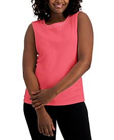 Cotton Rhinestone Sleeveless Top, Created for Macy's