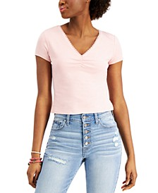 Juniors' Lace-Trim Ruched-Front Top