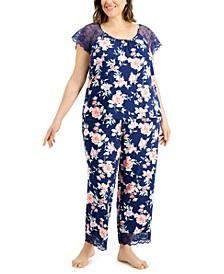 Plus Size Lace-Trim Pajamas Set, Created for Macy's