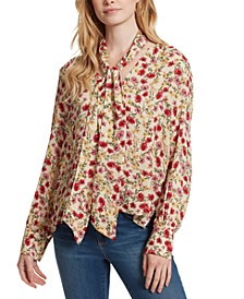 Dazed Printed Tie-Neck Top