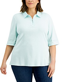 Plus Size Cotton Zip Polo, Created for Macy's