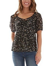 Juniors' Puffed Sleeve Peasant Top