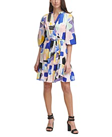 Printed Balloon-Sleeve Dress