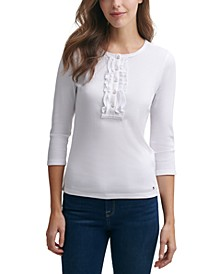 Ruffle Rib-Knit Henley Top