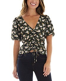 Juniors' Floral Puffed Sleeve Front Cinched Top