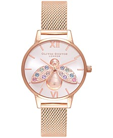 Women's Rainbow Bee Rose Gold-Tone Stainless Steel Mesh Bracelet Watch 30mm
