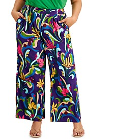 INC Plus Size High-Rise Printed Wide-Leg Pants, Created for Macy's